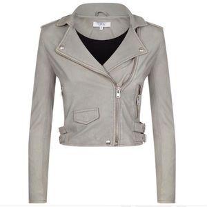 IRO Ashville Grey leather jacket size 42